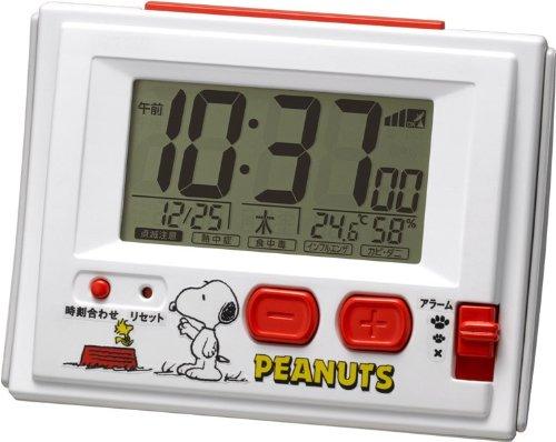 スヌーピー目覚まし時計電波デジタル犬小屋カラー1