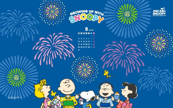 2015年8月のスヌーピー無料壁紙!花火大会と誕生日パーティー♪
