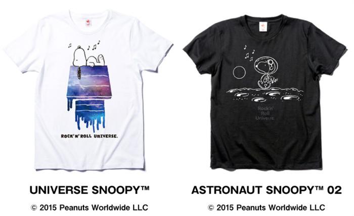 スヌーピーTシャツ宇宙白アストロノーツ黒ロッキンスターロキノンコラボ1