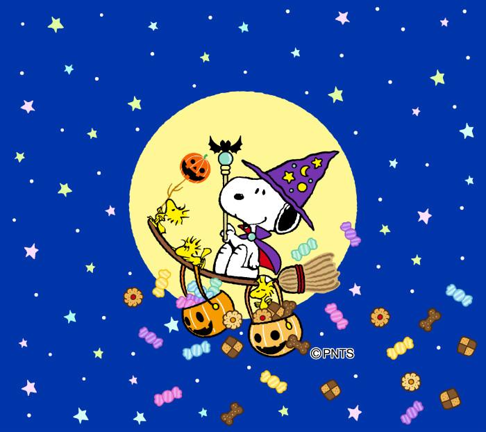 スヌーピーパークスマホ限定壁紙公式ファンサイト201610ハロウィン魔法使いお菓子ほうき