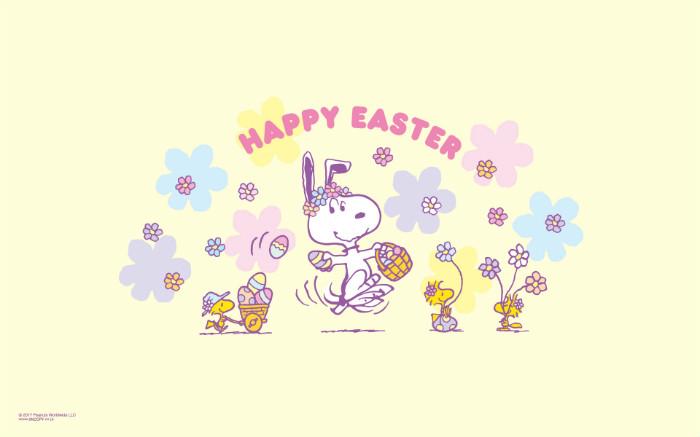 スヌーピー公式サイト壁紙待受画像2017年4月イースタービーグルうさぎ卵