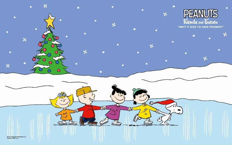 スヌーピー公式サイト壁紙待受画像2017年12月クリスマススケート1