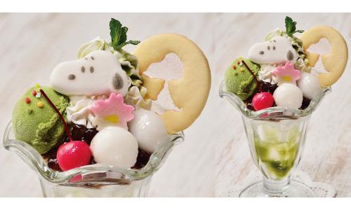 スヌーピー茶屋小樽店北海道デザートメニューあずき抹茶パフェスイーツ1