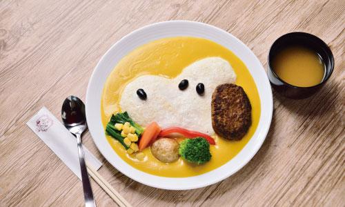 スヌーピー茶屋小樽店北海道フードメニューハンバーグオムライスかぼちゃ1