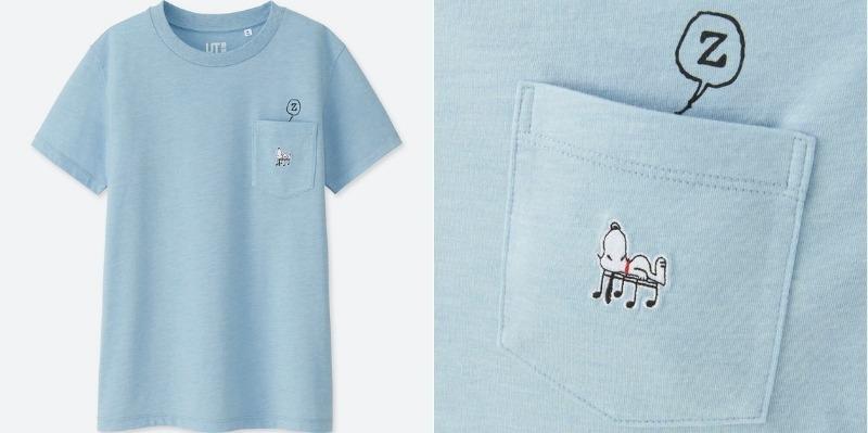 スヌーピーTシャツユニクロコラボ2018音符昼寝水色刺しゅうかわいい1