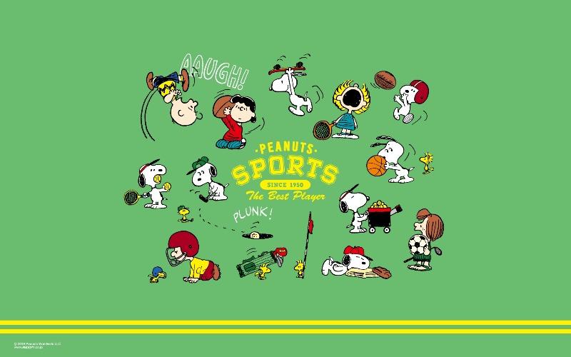 スヌーピー公式サイト壁紙待受画像2018年9月スポーツ秋テニスバスケ1