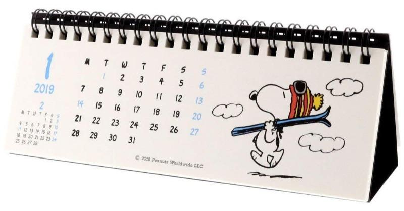 スヌーピー卓上カレンダー2019リングタイプ横長低いスリムかわいい4