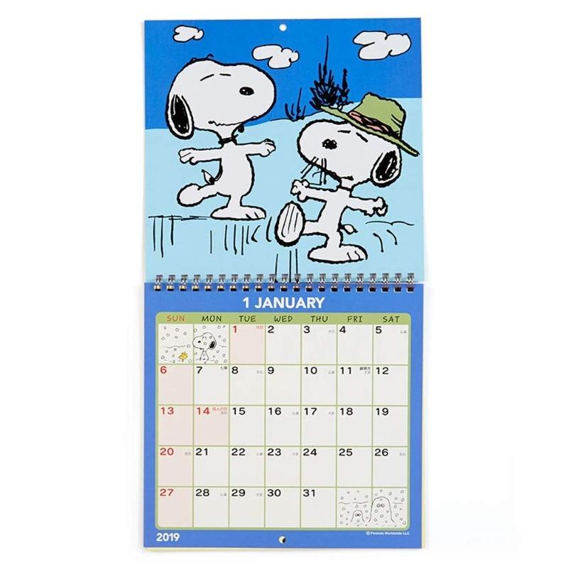 スヌーピー壁掛けカレンダー2019かわいいイラスト大きいシール付物語2