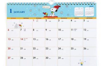 スヌーピー壁掛けカレンダー2019かわいいデザインシール付A4書き込み1