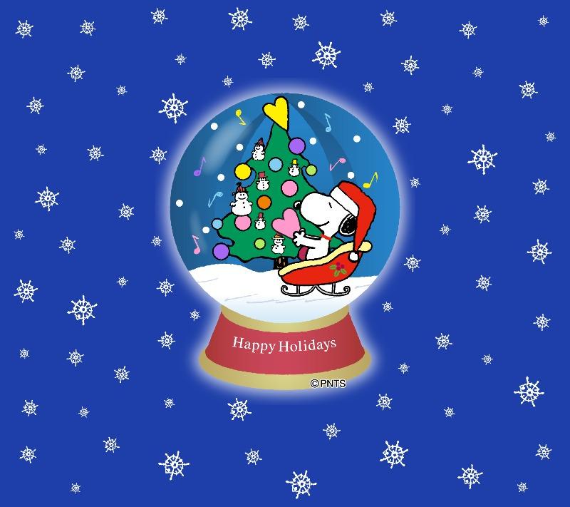 スヌーピーパーク壁紙待受画像2018年12月クリスマスサンタハートスノードーム1