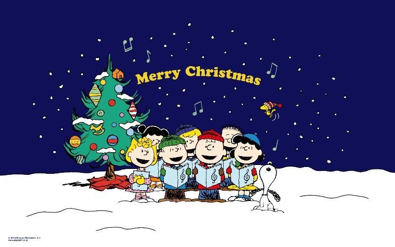 スヌーピー公式サイト壁紙待受画像2018年12月メリークリスマス熱唱歌ってる1
