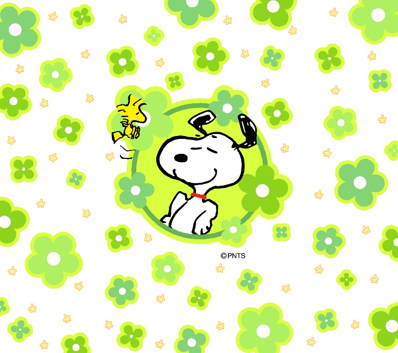 スヌーピー壁紙2019年4月はチアキャラ緑のキレイな花柄で春画像