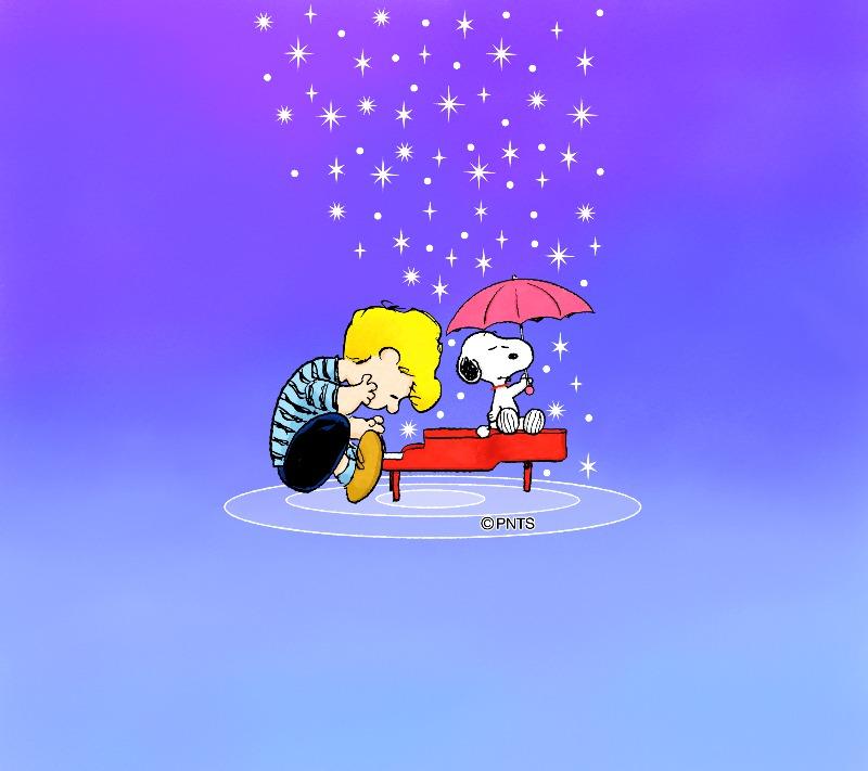 スヌーピーパーク壁紙待受画像2019年6月きらきら雨傘シュローダーピアノ1