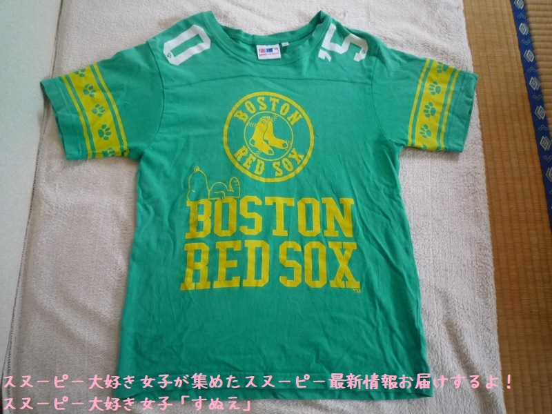 スヌーピーTシャツボストンレッドソックス寝そべってる足跡かわいい緑すぬえ1