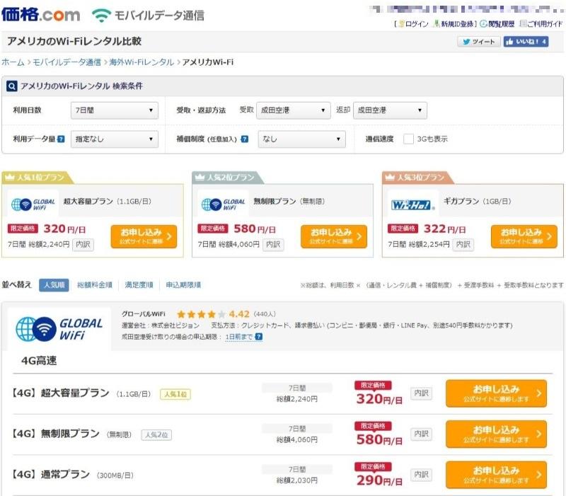 スヌーピーアメリカサンタローザネットグローバルWi-Fi価格ドットコム安い2