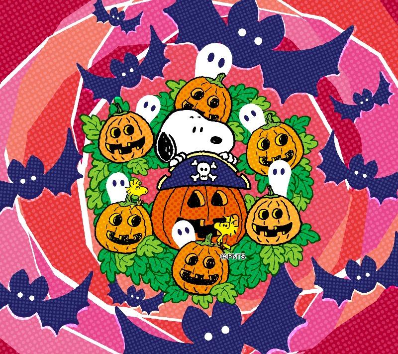 スヌーピーパーク壁紙待受画像2019年10月ハロウィンかぼちゃこうもりお化け1