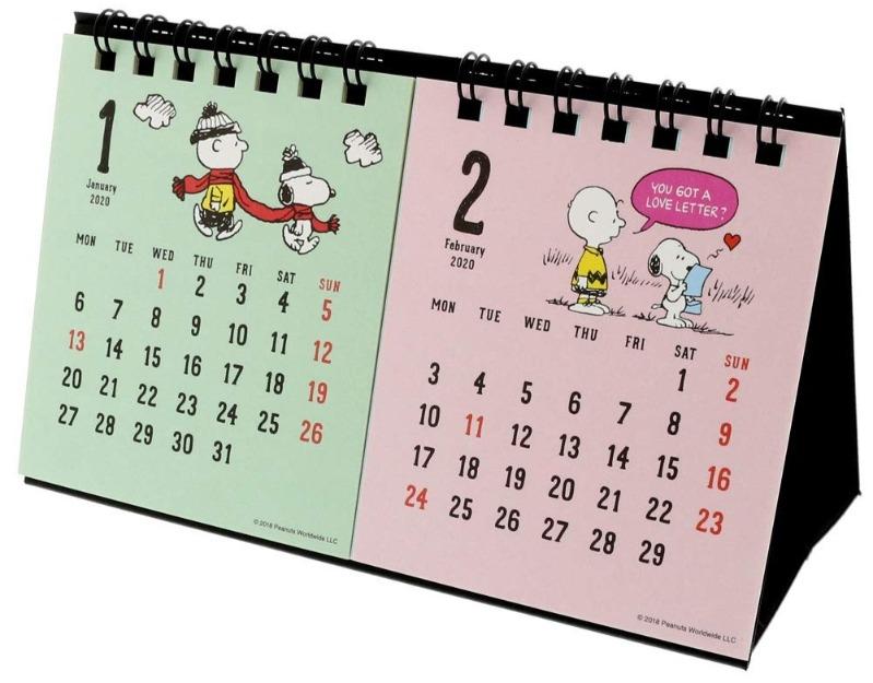 スヌーピー卓上カレンダー2020かわいいビーグルスカウト音楽ラブレター2か月横1