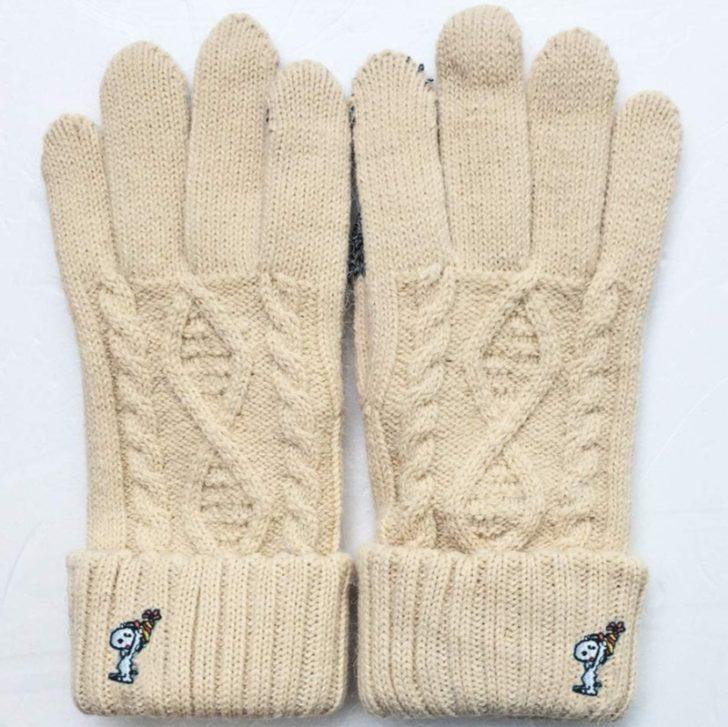 スヌーピー手袋2019冬かわいい暖かい刺しゅうニット帽元気プレゼント1
