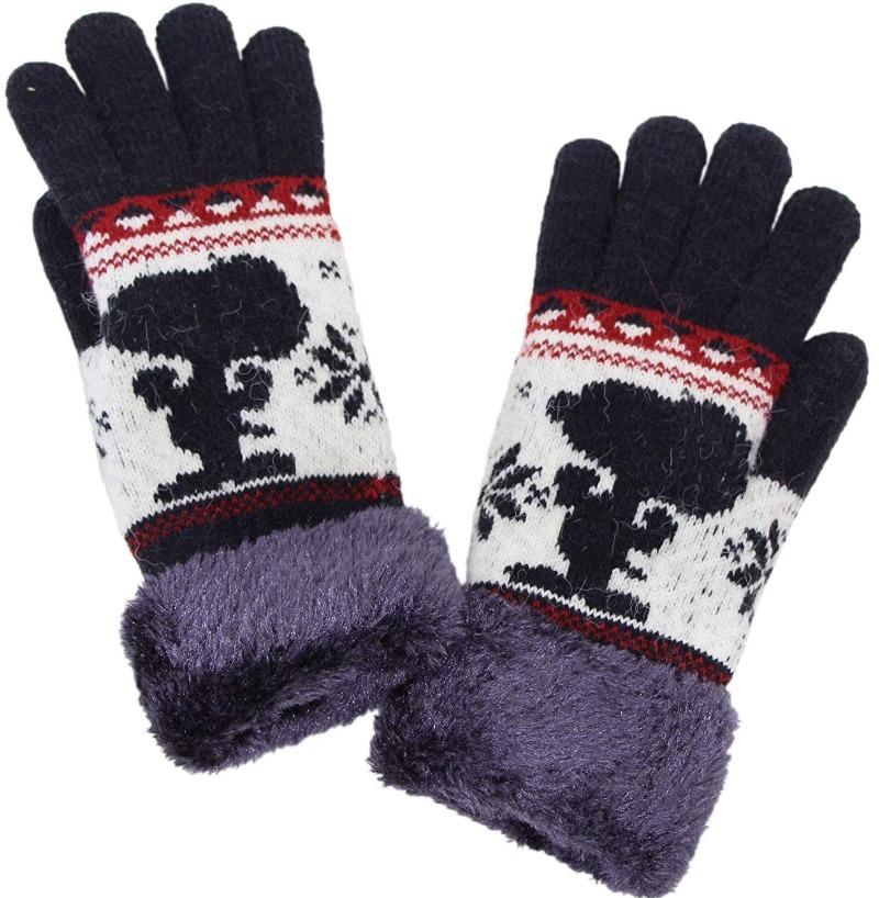 スヌーピー手袋2019冬かわいい暖かい大きな絵柄シルエットおしゃれデザイン1