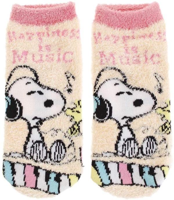 スヌーピーもこもこ靴下2019かわいい音楽音符ヘッドホンピンクミュージック1