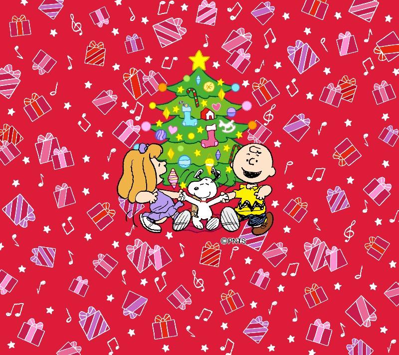 スヌーピーパーク壁紙待受画像2019年12月クリスマスツリーダンス踊ってる1