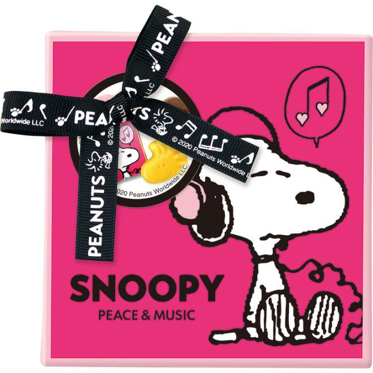 スヌーピーバレンタインギフトチョコ2020音楽音符ピンクかわいい缶箱6