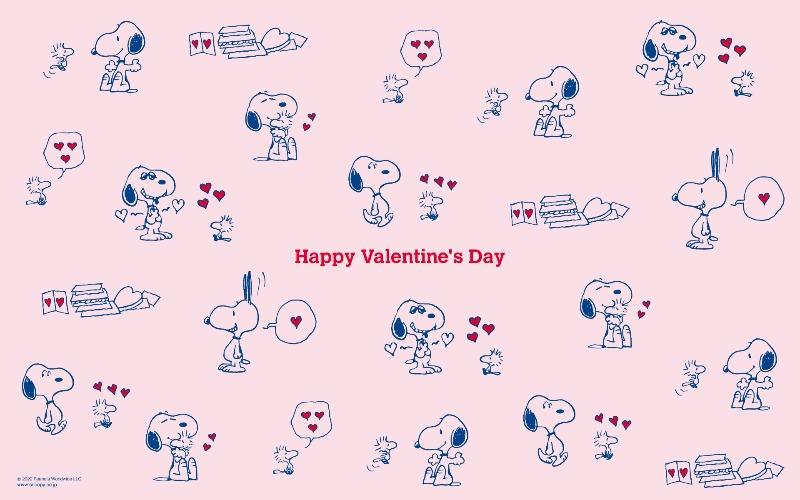 スヌーピー公式サイト壁紙待受画像2020年2月バレンタインハートラブ1