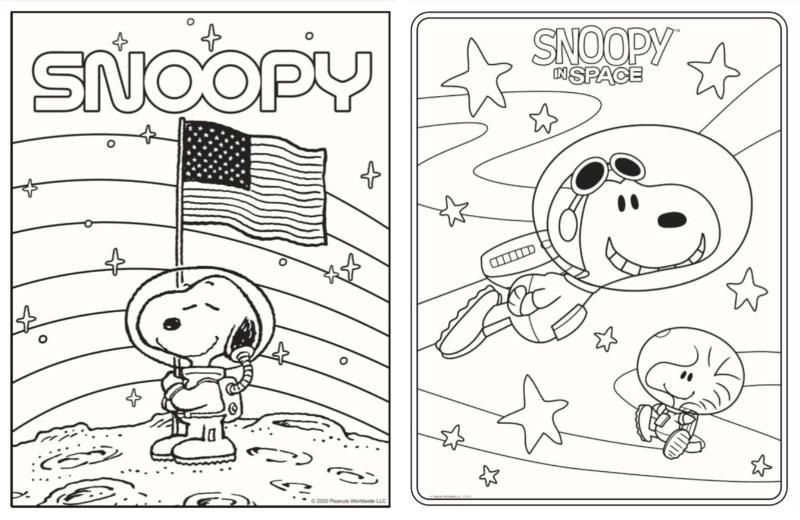 スヌーピーおうち時間をスヌーピーと一緒にぬりえアストロノーツ宇宙かわいい1