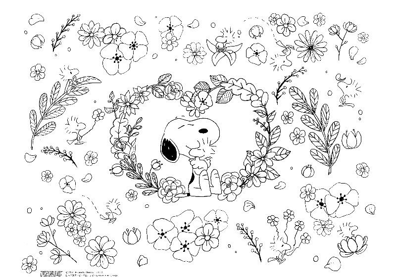 スヌーピーおうち時間をスヌーピーと一緒にぬりえフラワー花かわいい1