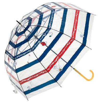 スヌーピー雨傘2020梅雨ビニール傘かわいい透明タコ糸絡まるボーダー柄3