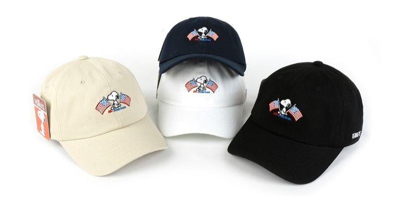 スヌーピー帽子2020キャップ夏熱中症アメリカ国旗かわいいシンプル1
