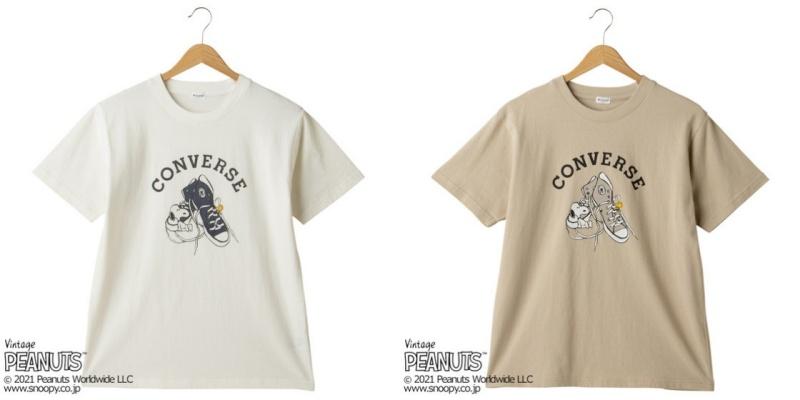 スヌーピーTシャツプラザ夏半袖かわいいコンバース靴ハイカットスニーカー