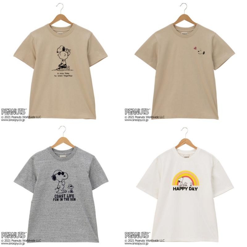 スヌーピーTシャツプラザ夏半袖かわいいジョークールフェイス虹チャーリー