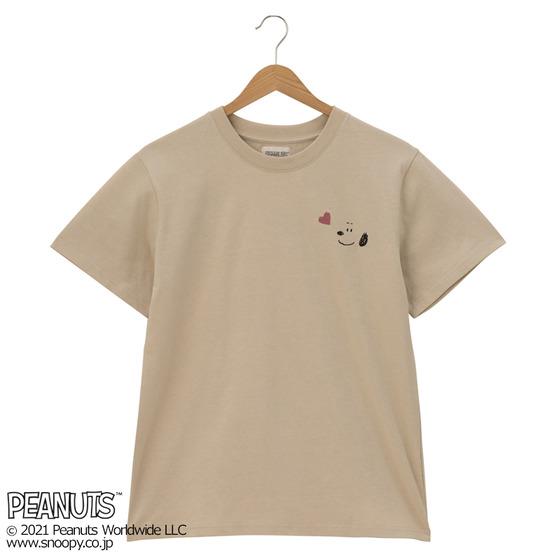 スヌーピーTシャツプラザ夏半袖かわいいフェイス顔ハート刺繡ワンポイント