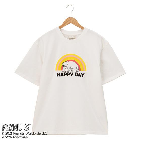スヌーピーTシャツプラザ夏半袖かわいい虹レインボーハッピーデイズ